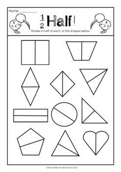 Fraction Worksheets - Half, Third, Quarter (Kindergarten / Pre K ...