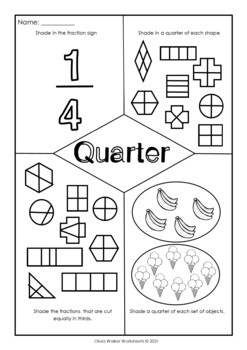Fraction Worksheets - Half, Third, Quarter (Kindergarten / Pre K / Grade One
