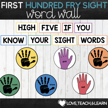 First Fry Sight Words - High Five Word Wall
