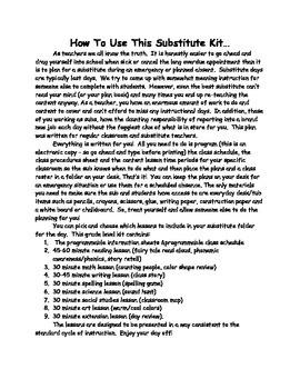 First Gr. Editable No Prep Substitute CCSS Lesson Plan Bundle Days 1 2 & 3