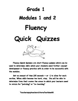First Grade 1 Fluency Assessment for Modules 1 and 2: Supp