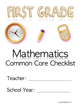 First Grade (1st Grade) CCSS Common Core Checklist and Report Document