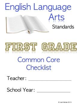 First Grade (1st Grade) CCSS ELA Checklist and Report Document