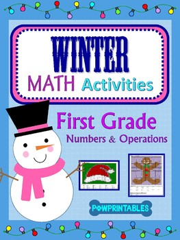 1st Grade - 2 Winter/Christmas Math Coloring Activities! - Hat and Gingerbread
