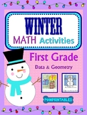 1st Grade - 2 Winter/Christmas Math Coloring Activities! - Snowman and Present