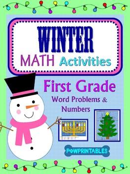 1st Grade - 2 Winter/Christmas Math Coloring Activities! - Xmas Tree & Menorah