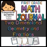 First Grade 2D Shapes and Fractions Math Journal (Go Math Chapter 12)