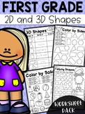 First Grade 2D and 3D Shapes Worksheets