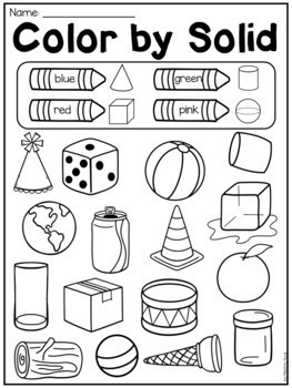First Grade 2D and 3D Shapes Worksheets - Distance Learning