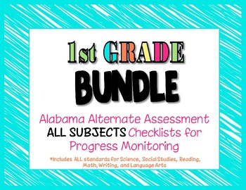 First Grade  AAA ALL SUBJECTS BUNDLE Checklist Progress Monitoring