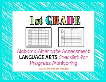 First Grade AAA Language Arts Checklist Progress Monitoring