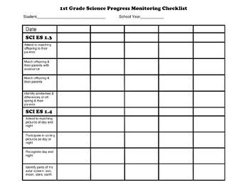 First Grade AAA Science Checklist Progress Monitoring