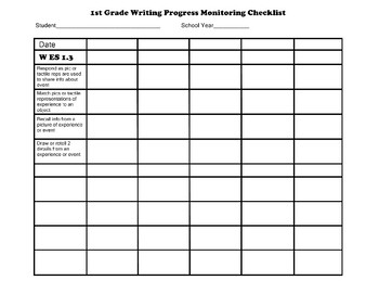 First Grade AAA Writing Checklist Progress Monitoring
