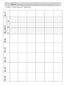 First Grade ALL ELA Standards Record Keeping