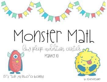 First Grade Addition Center- Monster Math Making 10