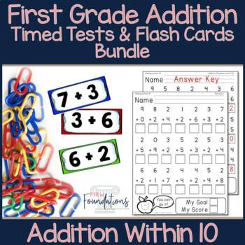 First Grade Addition Flash Cards & Timed Tests Bundle