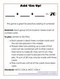 First Grade Addition Games (Common Core Aligned)