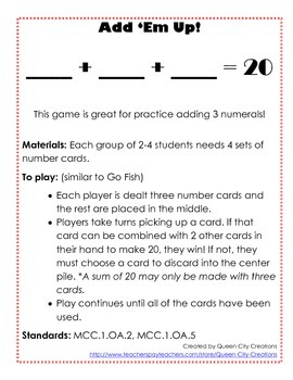 First Grade Addition Games (Common Core Aligned)