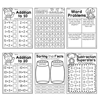 First Grade Addition and Subtraction Worksheets by My ...