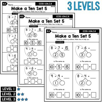 First Grade Addition Unit: Sums 10 to 20