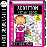 First Grade Addition Unit: Sums 10 to 20 | Common Core Aligned & Differentiated