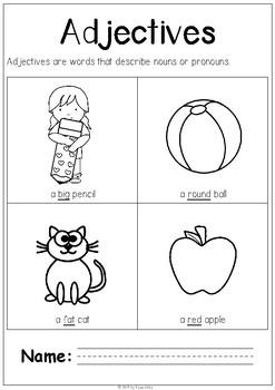 First Grade Adjectives No Prep Printables - Free