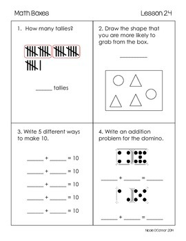First Grade Advanced Math Boxes: Everyday Math Chapter 2