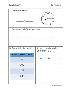 First Grade Advanced Math Boxes: Everyday Math Chapter 4