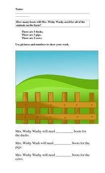 First Grade Algebra Lesson Using Mrs. Wishy Washy Story