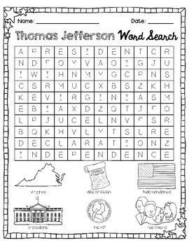 First Grade American Heroes Word Search Packet