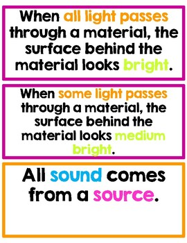 First Grade: Amplify Science Focus Wall- Unit 2- Light and Sound