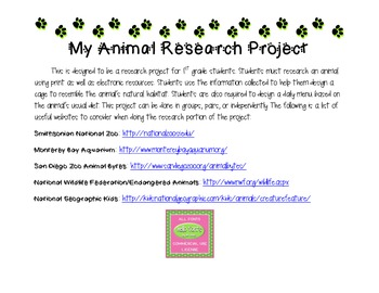 First Grade Animal Research Project