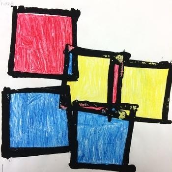 First Grade Art: Mondrian Squares