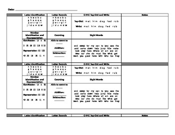 First Grade Assessment Anecdotal Notes Recording Sheet