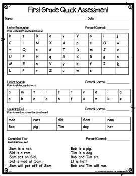 First Grade Assessment Data Forms