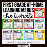 First Grade At-Home Learning Menus BUNDLE Distance Learning