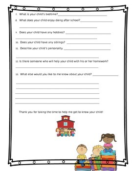 First Grade Back To School Questionnaire Survey