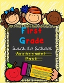 First Grade Back to School Assessment Pack