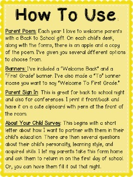 First Grade Back to School Forms: Can Edit!