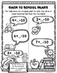 First Grade Back to School Math Packet