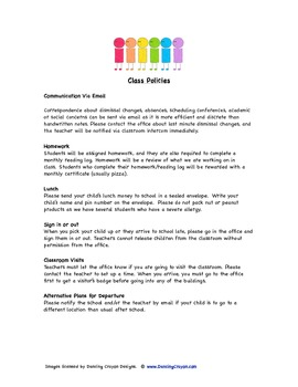 First Grade Back to School Packet for Parents