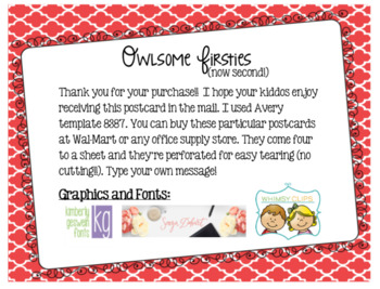 First Grade Back to School Postcard