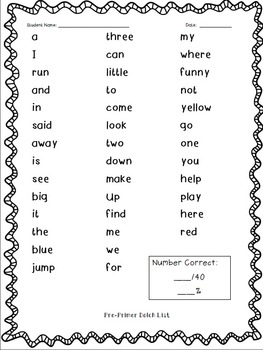 First Grade Baseline: Dolch Sight Words & More