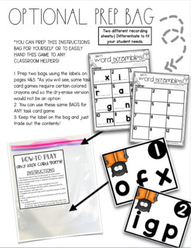 First Grade Bats Task Cards CVC Animal Word Scramble and Write