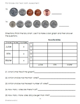 Math Assessments First Grade Beginning, Middle, and End of Year (Bundled)