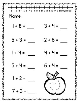 First Grade Beginning of Year Addition Worksheets