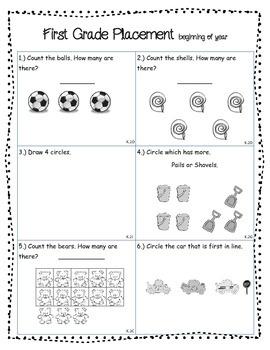First Grade Beginning of Year Math Assessment