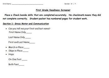 First Grade Beginning of the Year Assessment