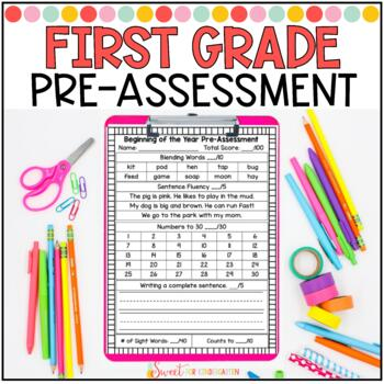 First Grade Beginning of the Year Pre-Assessment