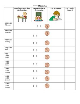First Grade Behavior Sheet